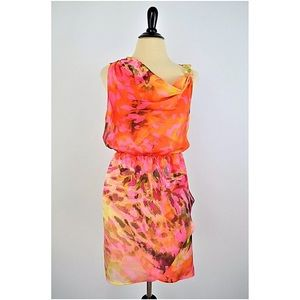 JENNIFER LOPEZ  Silky Gold Chain DRESS S colorful